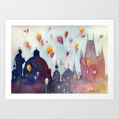 Balloons at Charles Bridge Art Print