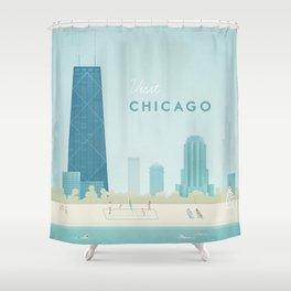Vintage Chicago Travel Poster Shower Curtain