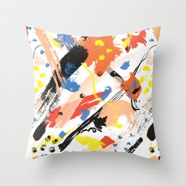Abstract Floral Splash Throw Pillow