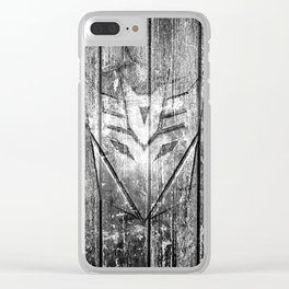 Decepticon Monochrome Wood Texture Clear iPhone Case