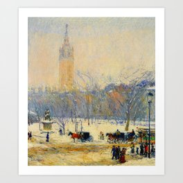 Frederick Childe Hassam - Snowstorm, Madison Square - Digital Remastered Edition Art Print