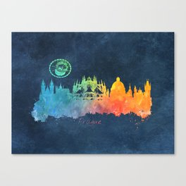 Prague colored skyline Canvas Print