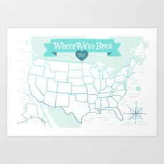 Where We've Been, USA, Icy Blue Art Print