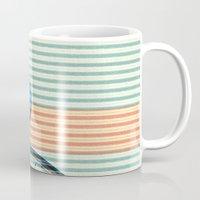 striped Mugs featuring Standard Striped Bike by Fernando Vieira
