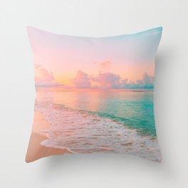 Beautiful: Aqua, Turquoise, Pink, Sunset Relaxing, Peaceful, Coastal Seashore Throw Pillow
