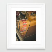 stickers Framed Art Prints featuring Rear seat stickers by Felix Padrosa Photography