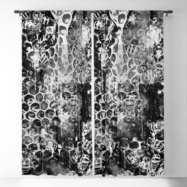 bees fill honeycombs in hive splatter watercolor black white Blackout Curtain