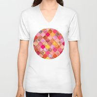 bedding V-neck T-shirts featuring Hot Pink, Gold, Tangerine & Taupe Decorative Moroccan Tile Pattern by micklyn
