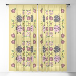 Ladybugs with Flowers Sheer Curtain