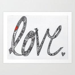 Love Zentangle  Art Print