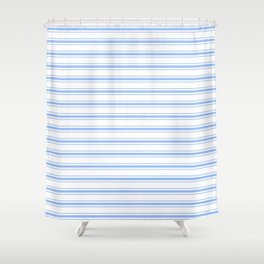 Mattress Ticking Wide Horizontal Striped Pattern in Pale Blue and White Shower Curtain