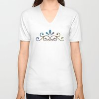 damask V-neck T-shirts featuring Seashell & Damask by Lachlan Willis