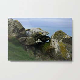 Lichen Covered Rocks in Front of the Blue Horizon Metal Print