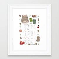 calendar Framed Art Prints featuring Winter calendar by Babiole Design