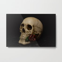 Skull & Rose Metal Print