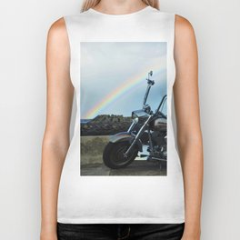 Motorcycle At The End Of The Rainbow Biker Tank