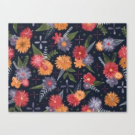 bright floral pattern on navy Canvas Print