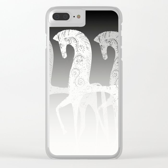 Horses in line - black and white - #society6 #buyart Clear iPhone Case