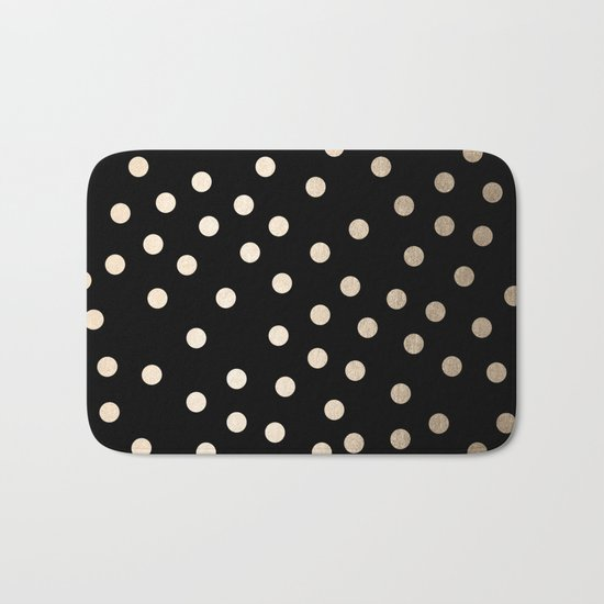 Simply Dots White Gold Sands on Midnight Black Bath Mat