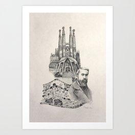 Tribute to Gaudi Art Print