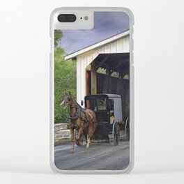 Amish Buggy with covered bridge Clear iPhone Case