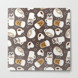 Coffee Lover Pattern Metal Print