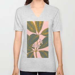 Modern Botanical Banana Leaf Unisex V-Neck