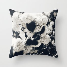 High Contrast Black and White Snowballs Throw Pillow