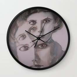 watercolor portrait of the Spirits in Her Head Wall Clock