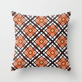 Autumn Inspired Orange Brown and White Throw Pillow