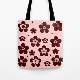 Pink with brown flowers Tote Bag