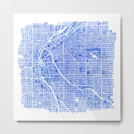 Denver Blueprint City Map Watercolor Metal Print