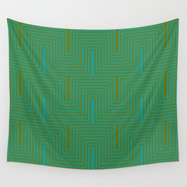 Doors & corners op art pattern in olive green and aqua blue Wall Tapestry