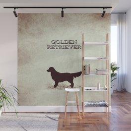 Retro Golden Retriever Distressed Paper Wall Mural