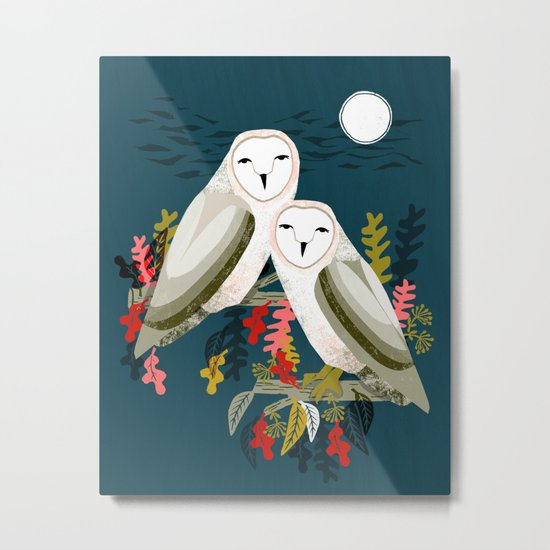 Two Owls by Andrea Lauren Metal Print