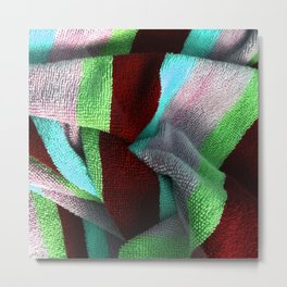 Multicolor Stripe Textile 5 Metal Print