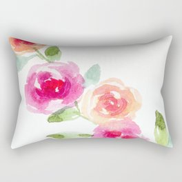 Pink and Orange Roses Rectangular Pillow