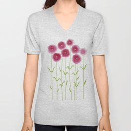 Pink Persian Buttercups in garden  Unisex V-Neck