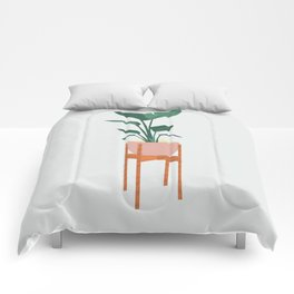 Boho mid century modern house plant and pot stand Comforters