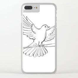 Pigeon or Dove Flying With Cane Drawing Clear iPhone Case