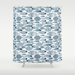 Blue Fish White Shower Curtain