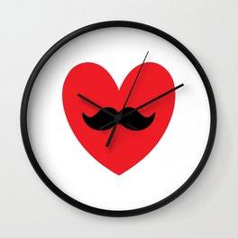 Mustache heart Wall Clock
