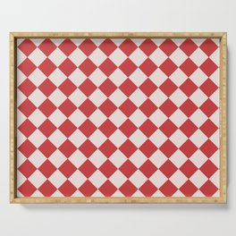 Red and White Checkered Diamond Pattern Serving Tray