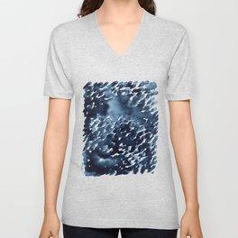 Watercolor dark abstract drops Unisex V-Neck