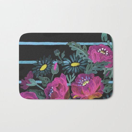 Watercolor Poppies on a striped background. 2 Bath Mat