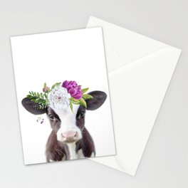 Baby Cow with Flower Crown Stationery Cards