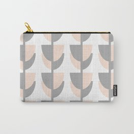 Tulips In Spring Time - Peach and Grey on White Carry-All Pouch