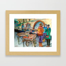 Watercolour painting : The fruit shop in Valbonne  Framed Art Print