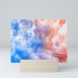 Pink & Blue Abstract Smoke Mini Art Print