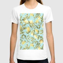 mediterranean summer lemon branches on turquoise T-shirt